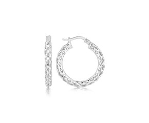 Lace Like Small Hoop Earrings in Rhodium Plated Sterling Silver