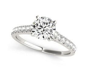 14k White Gold Round Prong Set Single Row Band Diamond Engagement Ring (1 1/3 cttw)