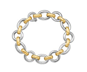 Multi Shape Diamond Cut Rhodium Plated Chain Bracelet in 18k Yellow Gold and Sterling Silver