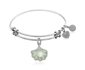 Expandable White Tone Brass Bangle with Shell Charm with Pearl