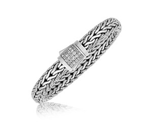 White Tone Sapphire Embellished Mens Braided Style Bracelet in Sterling Silver