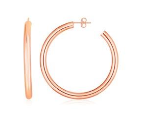 14k Rose Gold Polished Hoop Earrings