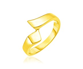 14k Yellow Gold Polished Crossover Style Ring