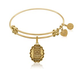 Expandable Yellow Tone Brass Bangle with U.S. Army Proud Sister Symbol