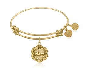 Expandable Yellow Tone Brass Bangle with Mom Symbol