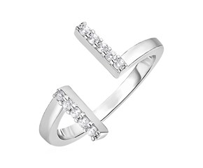 Toe Ring with Bars in Sterling Silver with Cubic Zirconia