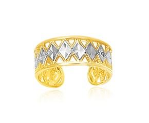 Diamond Shape Design Cuff Toe Ring in 14K Two-Tone Gold