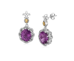 Fancy Oval Amethyst and Diamond Accented Fleur De Lis Motif Earrings in 18k Yellow Gold and Sterling Silver (.07 cttw)