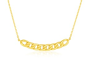 14k Yellow Gold 18 inch Necklace with Curve of Polished Chain