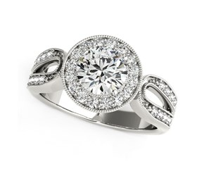 Fancy Teardrop Split Shank Round Diamond Engagement Ring in 14k White Gold (1 1/3 cttw)