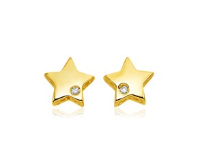 14k Yellow Gold Polished Star Earrings with Diamonds