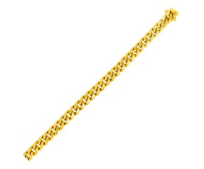 Semi Solid Miami Cuban Bracelet in 14k Yellow Gold (6.1mm)