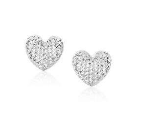 Diamond Cut Puffed Heart Earrings in 14k White Gold