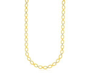 Textured and Smooth Oval Link Necklace in 14K Two-Tone Gold
