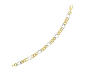Textured and Smooth Link Bracelet in 14K Two-Tone Gold