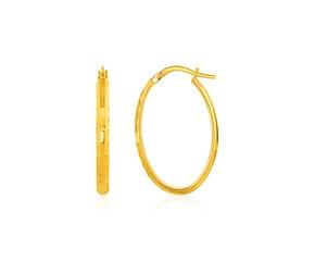 Shiny Oval Hoop Earrings in 10K Yellow Gold