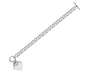 Rolo Chain Bracelet with a Heart Toggle Charm in Rhodium Plated Sterling Silver