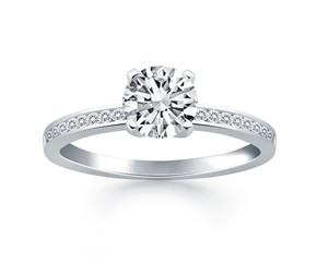 Engagement Ring with Diamond Channel Set Band in 14k White Gold