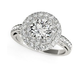 Two-Row Border Round Diamond Engagement Ring in 14k White Gold (2 cttw)