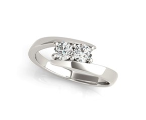Common Prong Two Stone Diamond Ring in 14k White Gold (1/2 cttw)
