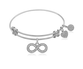 Expandable White Tone Brass Bangle with Infinity Symbol with Cubic Zirconia