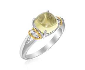 Polished Square Lemon Quartz and Diamond Ring in 18K Yellow Gold and Sterling Silver