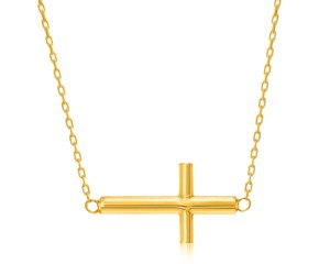 Polished Cross Motif Necklace in 14k Yellow Gold