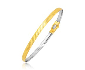 Reversible Omega Bracelet in 14K Two Tone Gold (3.0mm)