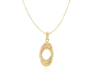Diamond Cut Interlaced Open Oval Pendant in 14K Yellow Gold
