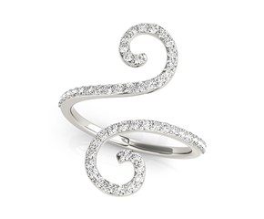 Curl Style Diamond Open Ring in 14k White Gold (1/2 cttw)