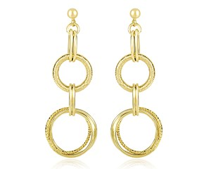 Interlinked Textured and Smooth Circles Dangling Earrings in 14K Yellow Gold