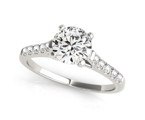 14k White Gold Cathedral Design Round Pronged Diamond Engagement Ring (1 1/8 cttw)