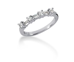 Diamond Wedding Ring Band with Round and Baguettes in 14K White Gold