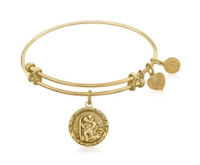 Expandable Yellow Tone Brass Bangle with St. Christopher Protection Symbol