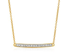 14k Yellow Gold 18 inch Necklace with Gold and Diamond Bar (1/10 cttw)
