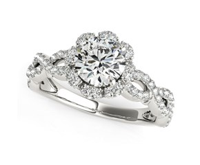 Floral Design Fancy Shank Round Diamond Engagement Ring in 14k White Gold (1 5/8 cttw)
