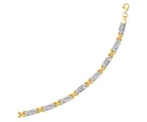 Fancy X Line Bracelet in 14k Two-Tone Gold