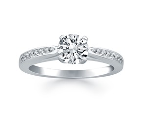 Cathedral Engagement Ring Mounting with Pave Diamonds in 14K White Gold