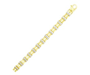 Two-Row Bar Style Link Men's Bracelet in 14k Two-Tone Gold