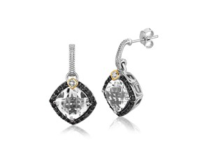 Crystal Quartz and Diamond Accented Cushion Drop Earrings in 18k Yellow Gold and Sterling Silver (.43 cttw)