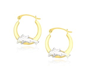 Graduated Hoop Earrings with Dolphins in 10K Two-Tone Gold