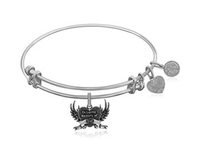Expandable White Tone Brass Bangle with In Loving Memory Of Dad Symbol