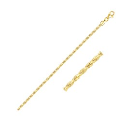 Solid Diamond Cut Rope Bracelet in 14K Yellow Gold (2.5mm)