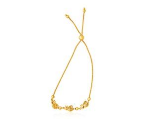 14k Yellow Gold Bumblebee Station Lariat Design Bracelet