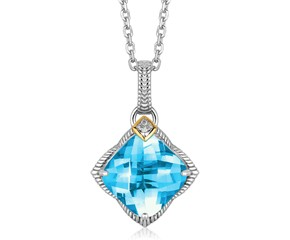 Blue Topaz and Diamond Embellished Cushion Pendant in 18K Yellow Gold and Sterling Silver