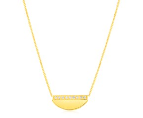 14K Yellow Gold Half Moon Necklace with Diamonds