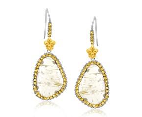 Rutilated Quartz & Citrine Fleur De Lis Drop Earrings in 18k Yellow Gold and Sterling Silver
