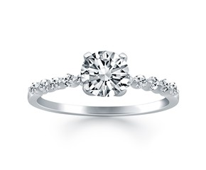Diamond Engagement Ring Mounting with Shared Prong Diamond Accents in 14k White Gold