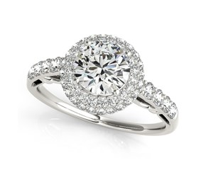 14k White Gold Double Halo Style Round Diamond Engagement Pave Shank Ring (1 1/2 cttw)