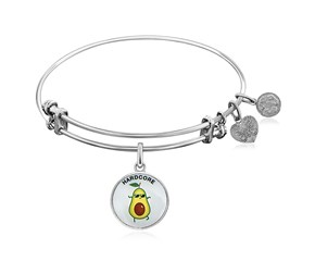 Expandable White Tone Brass Bangle with Enamel Hardcore Symbol
